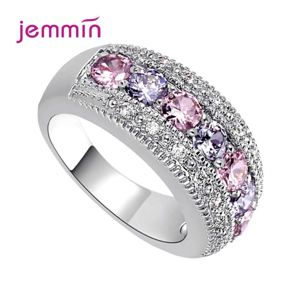 Women Pink Purple Colorful Zircon Ring 925 Sterling Silver Promise Engagement Wedding Rings Fashion Jewelry Size 6/7/8/9/10