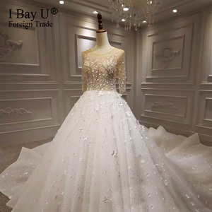 Image 5 - Stunning Crysal Luxury Ivory Long Sleeves Wedding Dresses 2020 Full Beading 3D Flowers Sequined Bridal Gown