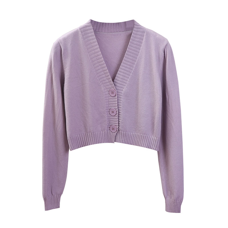 Spring Green Cropped Cardigans 2020 Loose Ladies Short Knitted Sweaters Long Sleeve Buttons V neck Solid Female Cardigan New