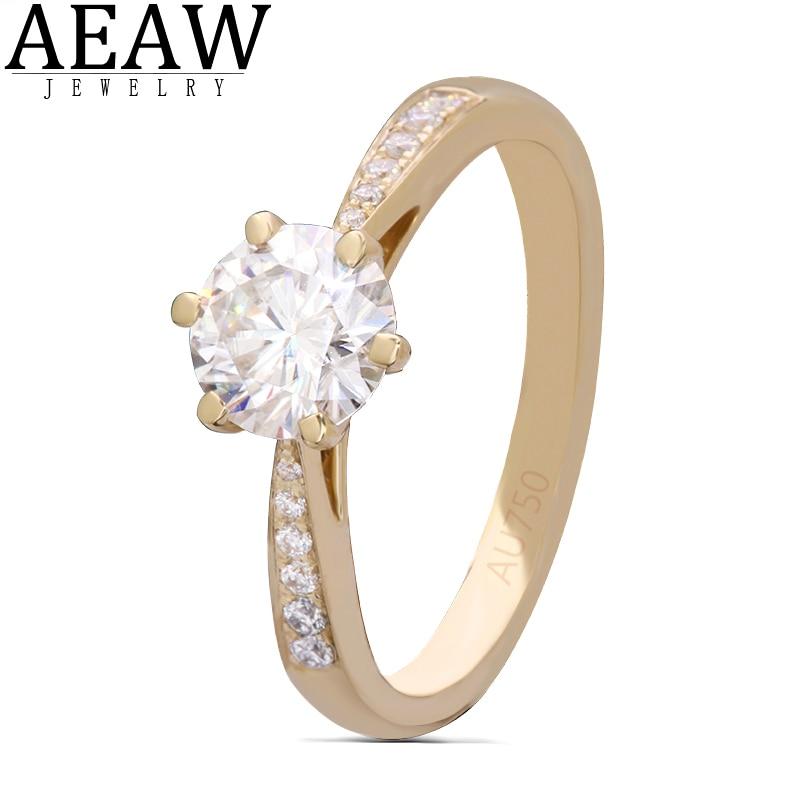 AEAW 6.5mm 1.0ct  Round Cut 10k 14k Yellow Gold Moissanite Ring Half Full Eternity Sizes Original Dazzling Female Jewelry