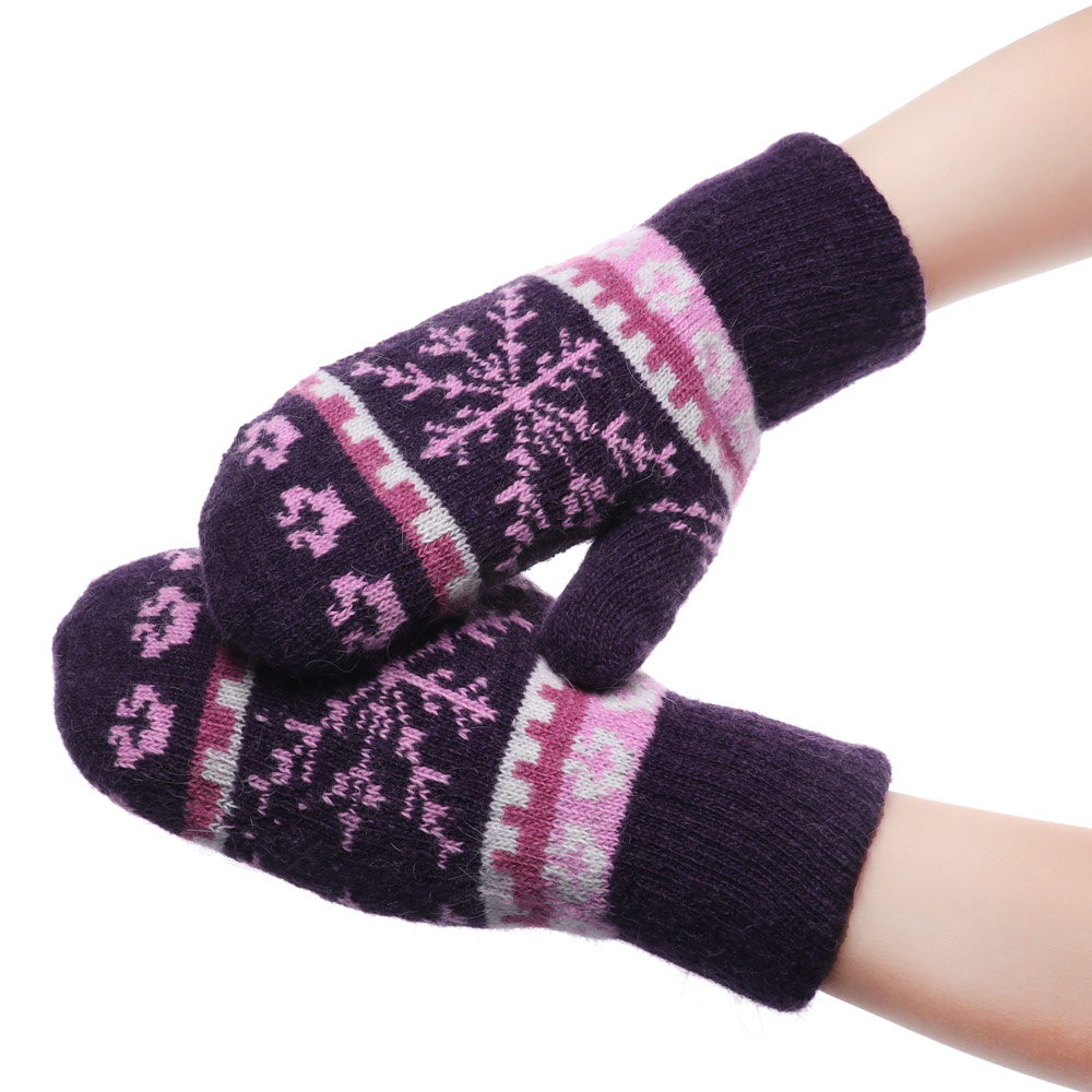 Women Knitted Warm Gloves 1Pair Winter Gloves Touch Screen Windproof Gloves Cycling Unisex Mittens Snowflake Christmas Gifts