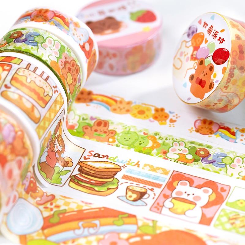 Colorful Fairy Tale Town Kawaii Planner Handbook Decorative Washi Masking Tape School Supplies Korean Stationery Album Stickers