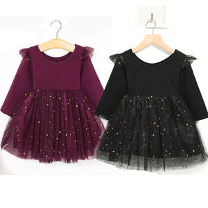 One Piece Outfits Baby Girls Toddler Tutu Dress Ruffle Long Sleeve Sequins Princess Infant Tulle Sundress Black 12-18M(China)