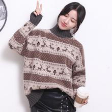 Turtleneck Knitted Sweater Women 2019 New Autumn Winter Female Long Sleeve Thick Warm Pullover Casual Christmas Deer Sweater