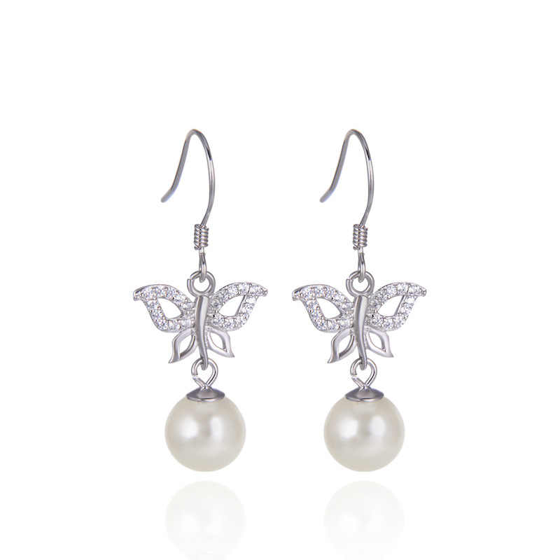 Kualitas Tinggi Korea Fashion Butterfly Mutiara 925 Perak Anting-Anting Wanita Anting-Terbaik Hadiah Ulang Tahun Pesta Aksesoris Perhiasan