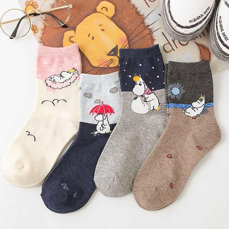 2019 New Autumn and Winter Women Mumin Moomin Socks Hippo Japanese Cartoon Animal Funny Middle Tube Footwear