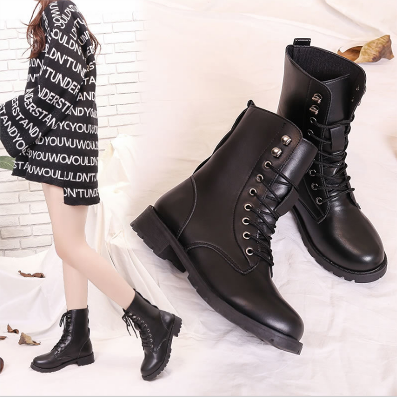 WENYUJH tıknaz motosiklet botları kadın sonbahar yuvarlak ayak dantel-up siyah çizmeler ayakkabı sokak açık stil kızlar yüksek tüp çizmeler
