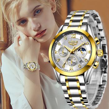 LIGE 2021 nowe złote zegarki damskie zegarki damskie kreatywne stalowe damskie bransoletki z zegarkiem damskie wodoodporne zegary Relogio Feminino tanie i dobre opinie QUARTZ NONE Klamerka z zapięciem CN (pochodzenie) STAINLESS STEEL 3Bar Moda casual 19mm ROUND 11mm stoper Odporna na wstrząsy
