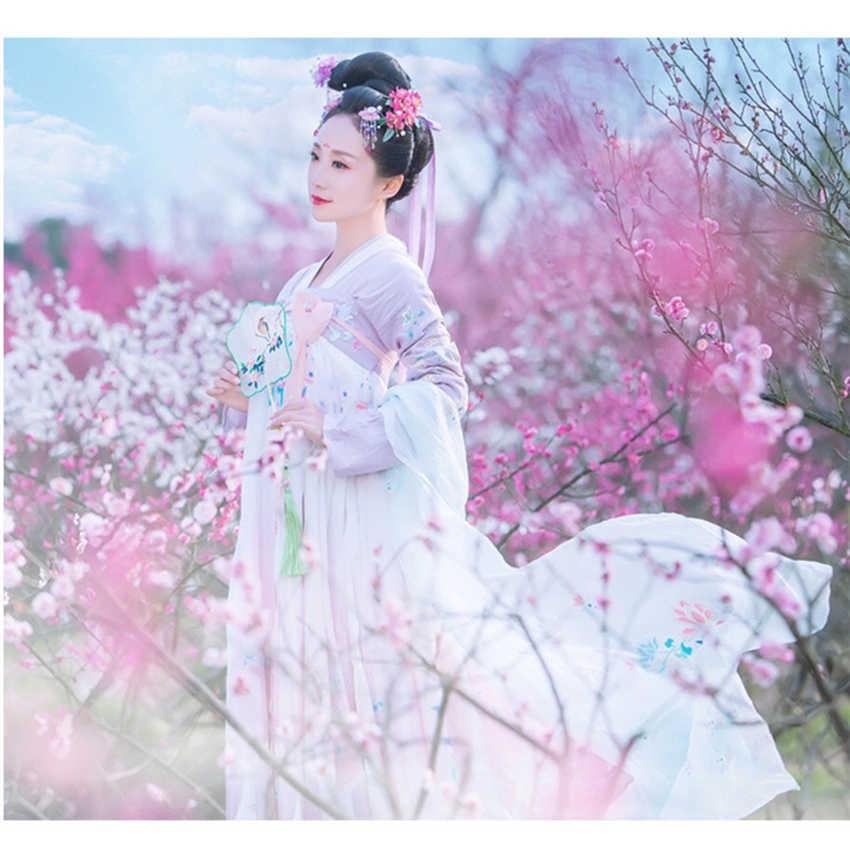 Kobieta chińskie tradycyjne kostiumy do tańca elegancka wróżka wydajność Hanfu haft orientalny Tang starożytny strój fotograficzny