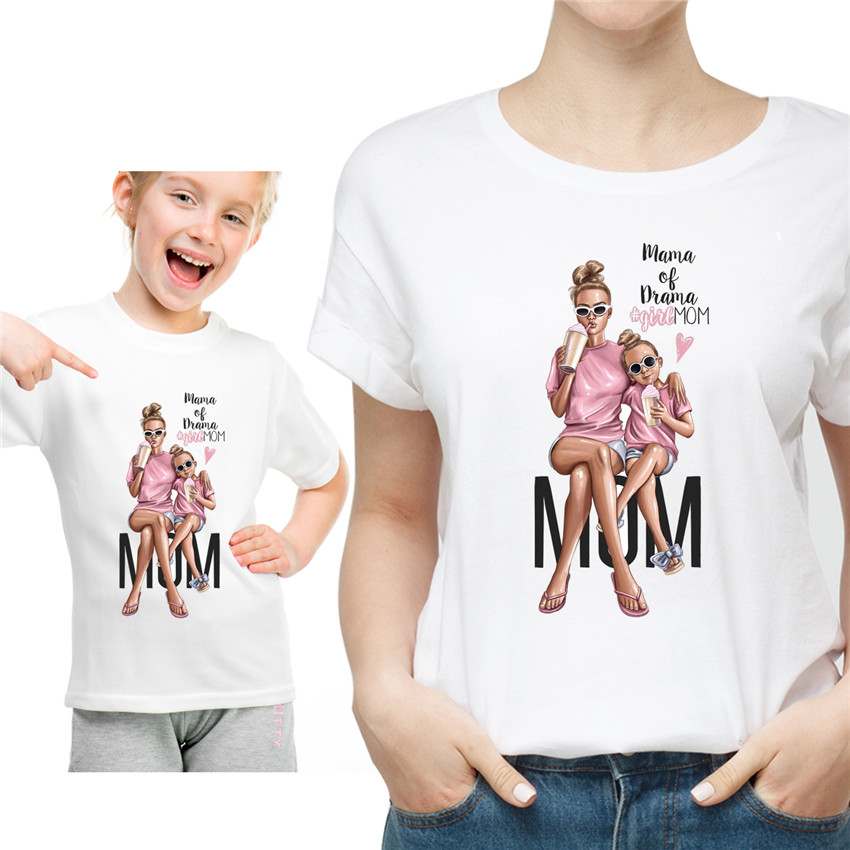 Super Mother Daughter  Matching T Shirts Mommy And Me Clothes Family Look Mom Mum Mama And Baby Tshirt Dresses Clothing