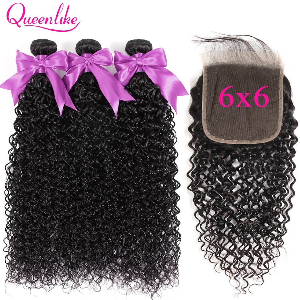 Malaysian Kinky Curly Bundles With Closure Queenlike 100% Human Hair Bundles Remy 6x6 Big Size Lace Closure And Bundles