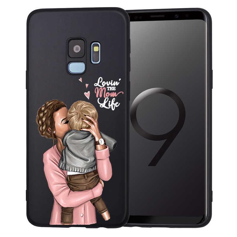 Coque de téléphone De Luxe Maman Bébé Souris Fille Maman Pour Samsung Galaxy Note 10 A7 2018 A6 A8 A5 A9 S6 S6Edge J5 2016 J2 J3 Etui En Silicone
