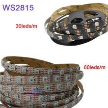 5 m/lote ws2815 pixel led luz de tira; dc12v 30/60 pixels/leds/m; ip30/ip65/ip67; endereçável dupla sinal inteligente fita de tira led