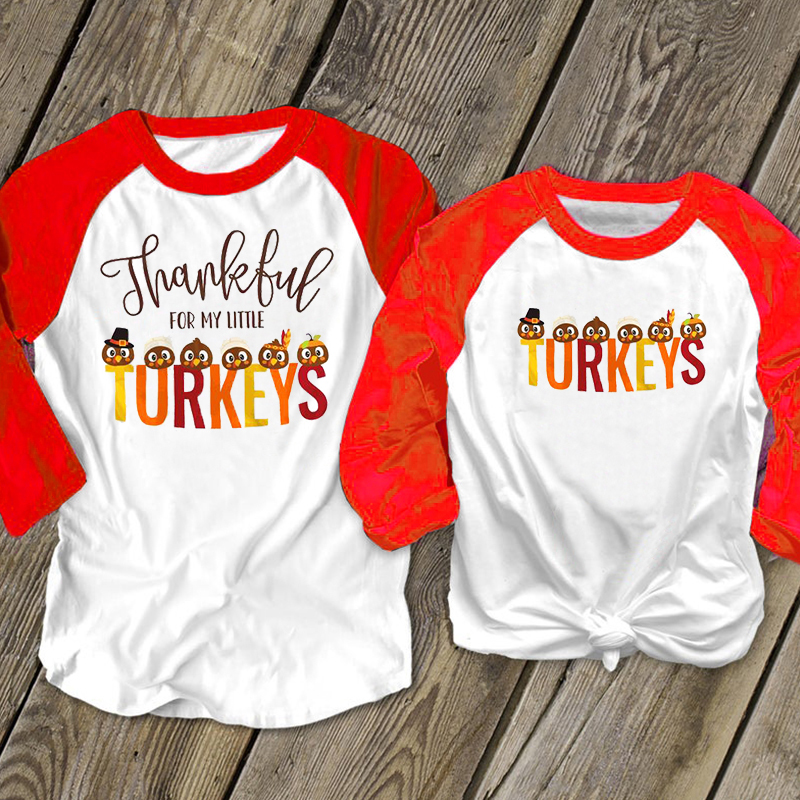 thanksgiving shirt family matching thankful tee turkeys baby girl tops matching outfits mother and daughter clothes