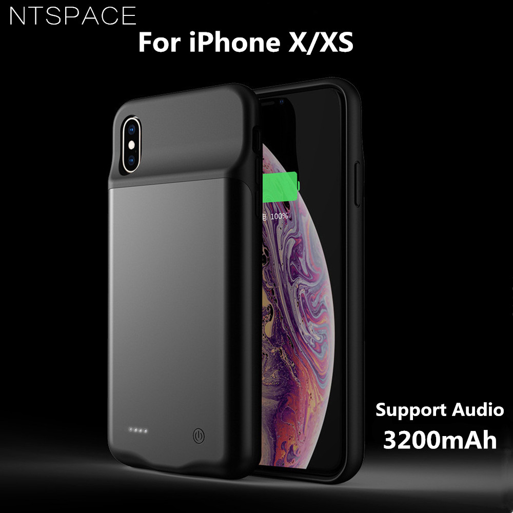 NTSPACE 3200mAh Battery Case For iPhone XS Silicone Shockproof Charger Cases Slim Power Bank X Audio