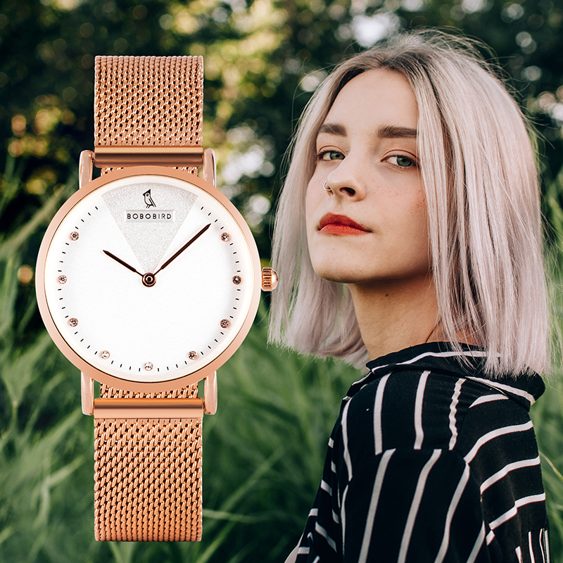 BOBO BIRD Women Watches Rose Gold Simple Romantic Wristwatch Reloj Mujer Stainless Steel Mesh Ladies Jewelry Relogio Feminino