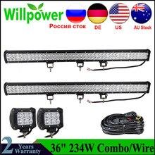 234w 12v światło do jazdy LED 36 cal listwa świetlna LED wiązki listwa świetlna LED robocza IP67Car bagażnik dachowy Bar światła dla Jeep 4x4 UAZ