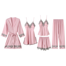 2020 Women Satin Sleepwear 5 Pieces Pyjamas Sexy Lace Pajama