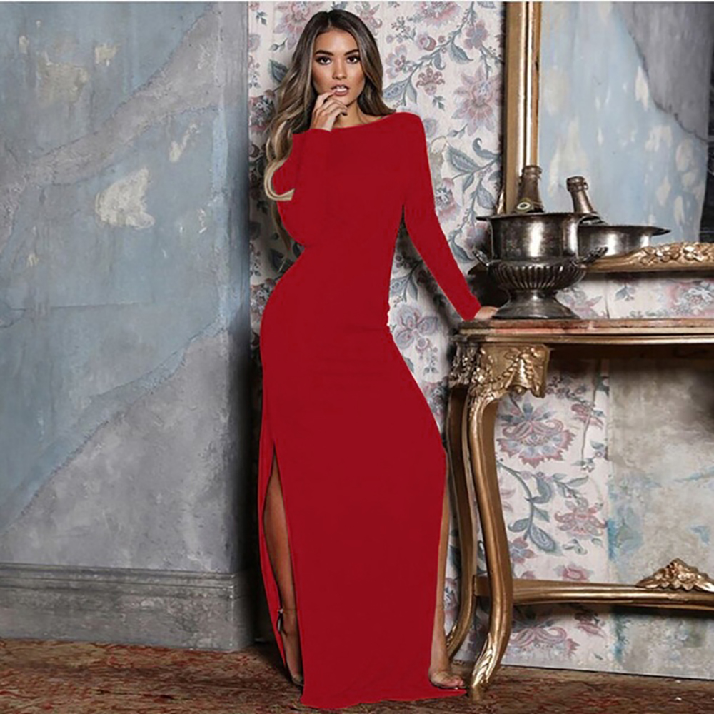 LOOZYKIT Womens Sexy Dresses Solid Color Long Sleeve High Waist Open Back High Split Stitching Party Long Dresses For Female New
