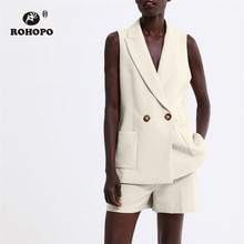 ROHOPO Double Layers Two Buttons Women Beige Vest Notched Collar Slim Office Ladies Solid Sleeveless Outwear #2242