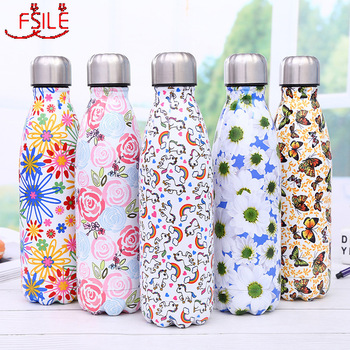 Stainless Steel Thermos Vacuum Flask Bottle 500ml Coffee Milk Cup Lovers Gradient Color Outdoor Travel Sport Hot Water Bottles bullet stainless steel hot water bottle high end gift cartoon thermos cup 500ml vacuum flask kettle