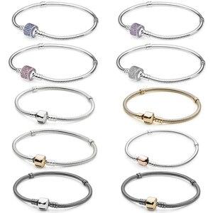 Image 1 - NEW 100% 925 Sterling Silver Classic head bracelet Clear CZ Charm Bead fit pendant DIY Bracelets The factory wholesale