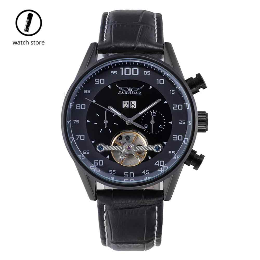Jaragar メンズ自動機械式時計トップの高級ブランドカレンダー防水レザー腕時計ブラックトゥールビヨン腕時計新