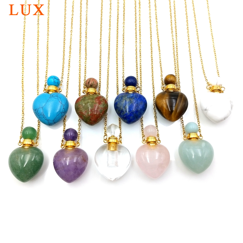 Gemas naturais de pedra Difusor de Óleo Essencial colar de garrafa de perfume Pingente lazuli lapiz ametistas jóias da forma do coração charme