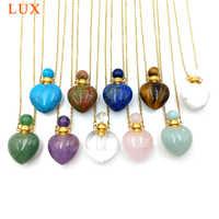 Naturale gemme di pietra collana della bottiglia di profumo di Olio Essenziale di Diffusore Pendente lapiz lazuli ametiste a forma di cuore di fascino dei monili