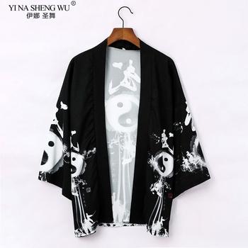 Japońskie kimono sweter mężczyźni kobiety haori yukata mężczyzna samuraj kostium kimono kurtka kimono bluzka yukata haori chińska szata tanie i dobre opinie YI NA SHENG WU WOMEN CN (pochodzenie) Poliester Trzy czwarte YLEB28806 Leisure Young People Printing M L XL XXL