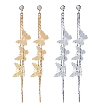 Simple Lovely Metal Trendy Insect Women Dangle Earrings Butterfly Long Tassel Eardrop For Drops Gift