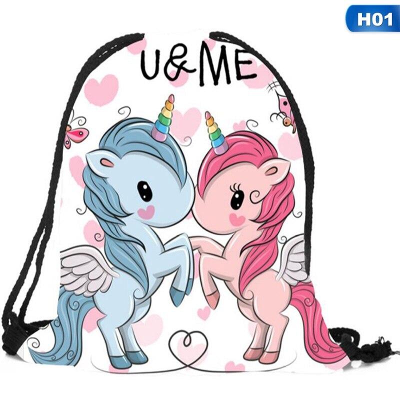New Cute Kid Baby Unicorn Pattern  Bags Swimming Bags Gym Pump Bag  School Drawstring Boy Girl Backpack Hot Sale