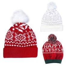 Женская рождественская зимняя вязаная шапка со снежинками пушистая
