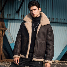 New Mens Shearling Coat Genuine Leather Jacket Men Lamb Fur and Sheep Leather Maxi Coat Short Real Leather Flight Suit(China)