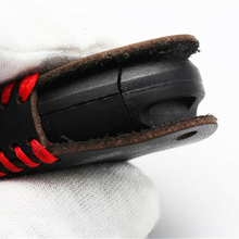 Leather Smart Key Case Accessories Bag Black Red Car Housing Protection Cover Fob Holder Keychain Useful Durable convenient durable leather key case holder for car black