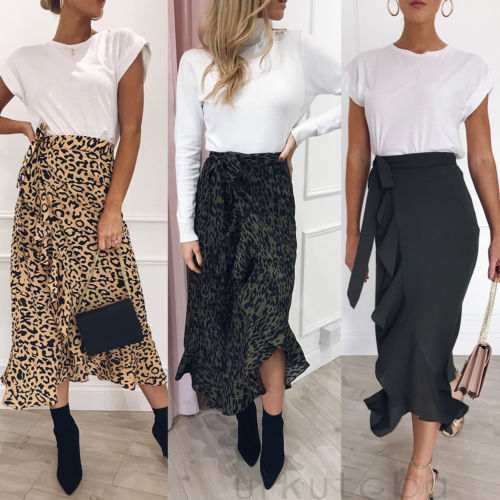 New Fashion Boho Women Leopard Print Long Maxi Skirt Summer Split Beach Wrap Sun Skirts S-XL