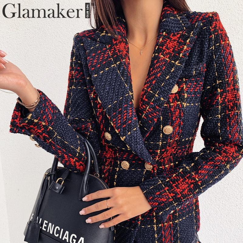 Glamaker Tweed Office Wear Fashion Jacket Blazer Women Double Breasted Warm Coat Outwear Autumn Winter Female Plaid Blazer Lady