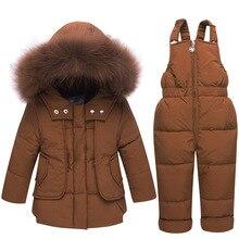 Зимняя одежда для младенцев; зимний комбинезон с капюшоном для малышей; куртка на утином пуху; Одежда для маленьких девочек; зимняя одежда; комбинезон; зимние пальто