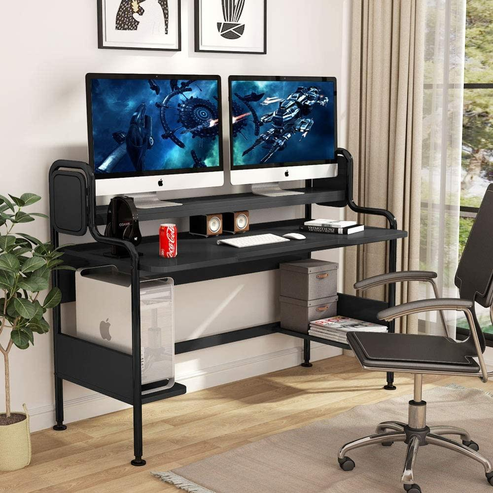 US $32.32 Tribesigns Computer Desk with Hutch, 32 Inch Large Gaming Desk  with Storage Shelves, Studio Workstation Desk StudyingLaptop Desks -