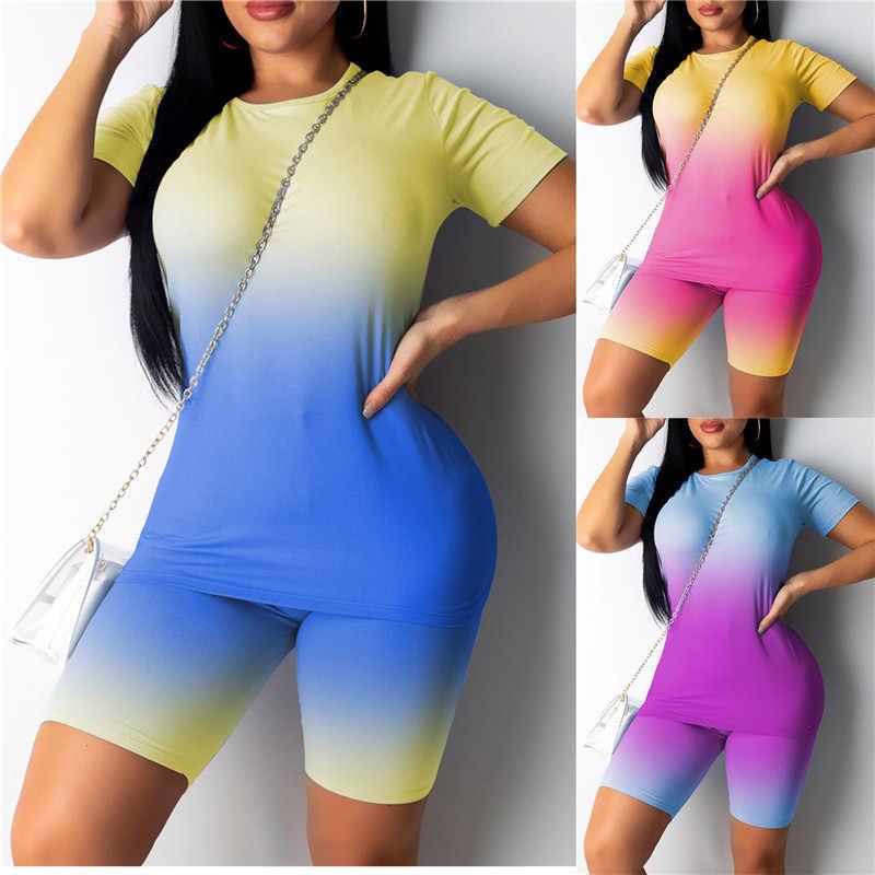 2020 새로운 섹시한 짧은 두 조각 세트 자르기 탑스와 바이커 반바지 그라디언트 Bodycon 매칭 세트 여름 Sportwear 의류 여성을위한