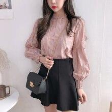 Женская блузка в Корейском стиле новинка кружевной пуловер blusas