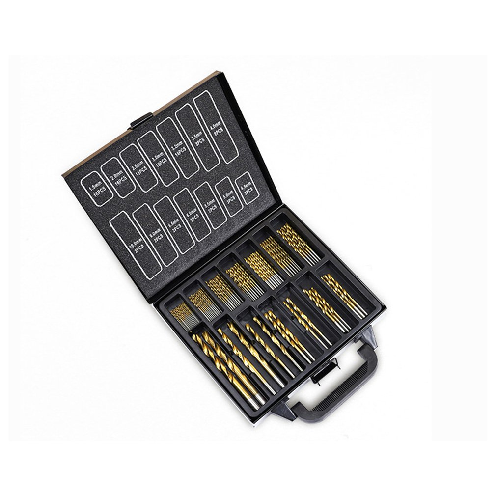 99Pcs/set High-speed Steel HSS Twist Drill Bits Set 1.5-10mm Titanium Coated Hemp Drill Woodworking Tool Kit With Metal Box