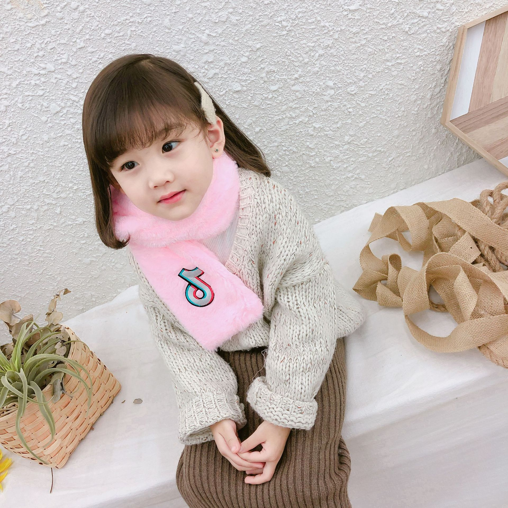 Autumn & Winter New Style Korean-style Women's Imitation Rabbit Fur Thick Scarf Solid Color Plush Warming Scarf Two