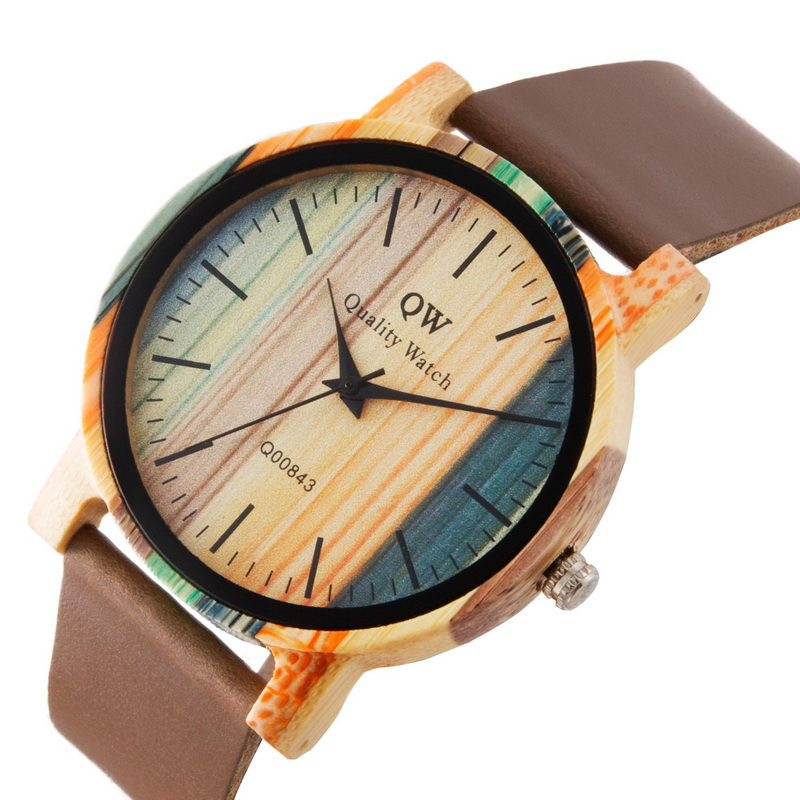 Image 4 - QW Sports Wooden Wristwatches Fashion Leather Colorful Women Girls Custom Wood Bamboo Watch-in Women's Watches from Watches