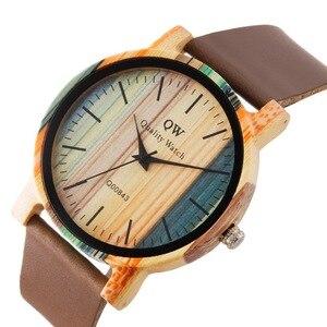 Image 4 - QW ספורט עץ שעוני יד אופנה עור צבעוני נשים בנות מותאם אישית עץ במבוק שעון