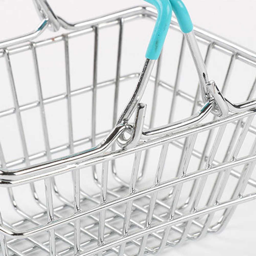 Anak-anak Miniatur Logam Supermarket Keranjang Belanja Berpura-pura Peran Bermain Mainan Hadiah Anak Mainan Pendidikan untuk Anak-anak Hadiah