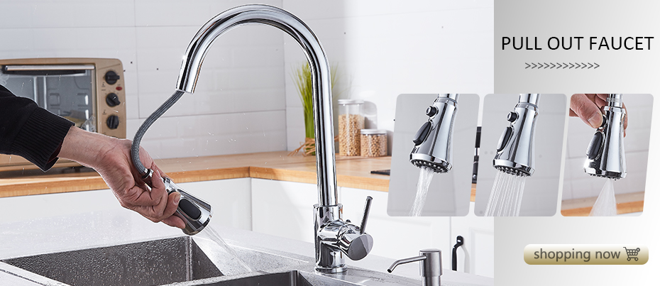 Hfe602b0840064bc787009b1f340e22acJ Deck Mounted Flexible Kitchen Faucets Pull Out Mixer Tap Black Hot Cold Kitchen Faucet Spring Style with Spray Mixers Taps E9009