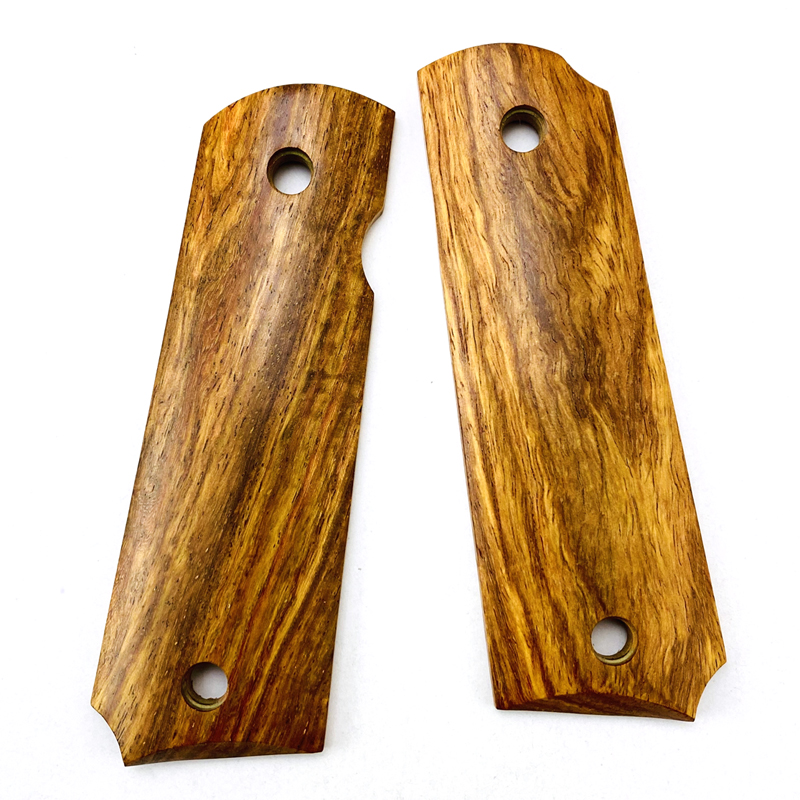2Pieces 1911 Grips African Yellow Pear Wood Handle Grips Patch Custom Grips CNC Handle Grips
