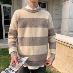 Autumn Striped Sweater Men Warm Slim Fashion Contrast Color Casual Knit Sweater Man Streetwear Long-sleeved Pullover Men Clothes