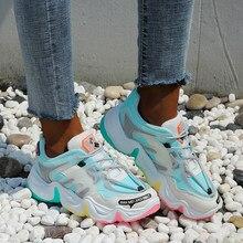 Vulcanize sapatos tênis de verão 2020 respirável cor do arco-íris moda tênis feminino tamanho 42
